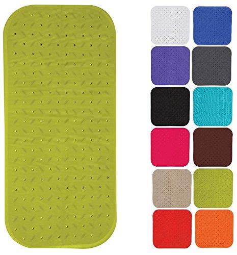 MSV Premium Duschmatte Badematte Badewannenmatte Badewanneneinlage antibakteriell rutschfest mit Saugnäpfen - Grün - duftet nach Rosen - ca. 36 x 97 cm - waschbar bei 60° Grad