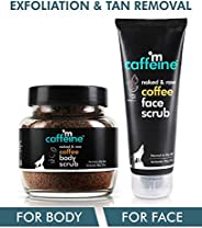 mCaffeine Coffee Exfoliation & Tan Removal Combo | Body Scrub 100gm, Face Scrub 100gm| Oily/Normal Skin |