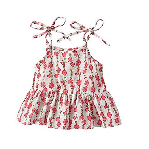 Sommer Kinderkleidung Staresen Mädchen Kleidung Set Baby Kurzarm-T-Shirt Set Ärmelloses Kinder-Tanktop + Quaste Hairball Shorts Set Ärmellose Baby ()