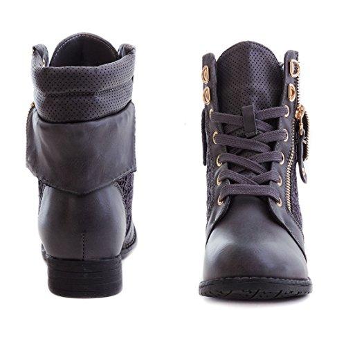 Spitze Trendboot 脺bergr枚脽en in Damen 43 Lederoptik Stiefel Marimo24 Stiefeletten mit hochwertiger Anthrazit bis Boots Worker Ww0nRPqPT5