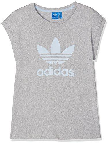 Canvas Kurzarm-t-shirt (adidas Damen T-Shirt Boyfriend Roll-Up, Medium Grey Heather, 38, BJ8277)
