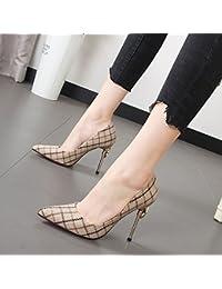 Xue Qiqi zapatos de tacón alto zapatos de mujer con la punta fina de la luz de un solo color hechizo zapatos Zapatos...