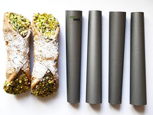 Eco Haus Living Canolli Röhrchen 4 Stück - 15 cm Teigrollchen Antihaftbeschichtung - Rund TEFLON Form zum Backen - Einfaches Waschen - ideal für süß und salzig oder kleine Kuchen und Vorspeisen (Silikon-oreo-cookie-schimmel)