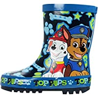 Boys Paw Patrol Wellington Boots Rubber Blue Rain Wellies Mid Calf Snow Kids Size UK 5-10