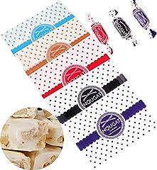 Idea Regalo - Liuer 500PCS Carta Caramella,Carta Oleata Biscotti Fogli di Carta Cerata per Fai Da Te a Mano Torrone Caramelle Biscotti Sacchetto per Caramelle di Compleanno Matrimonio(12,5x9cm,5 Colori)