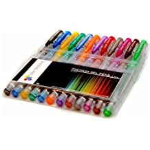 Glitter Gel Pens from Color Technik, Set of 12 Professional Artist Quality Pens. Best Gel Pen Colors with Comfort Grip. Enhance Your Adult Coloring Book Experience Now! Perfect Gift Ideas! by Color Technik