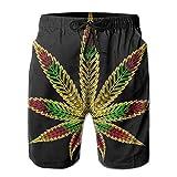 bbelieve Trippy Tie Dye Marihuana Weed Leaf Schwarz Comfort Herren Big & Tall Badehose Boardshorts für Beach Gym Workout XXL