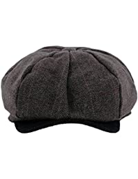 Grayson Wool Check & Cord Peak Bakerboy/Newsboy Cap