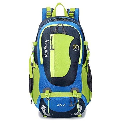 SZH&BEIB Großer Kapazitäts-45L Outdoor-Rucksack Bergsteigen Tasche für Beruf Wandern Reisen Blue