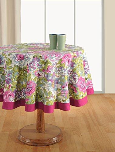 Runden Esstisch Zoll 60 (Yuga Blumen gedruckt 220 Gsm Baumwolle runde Esstisch Leinenbezug - 60
