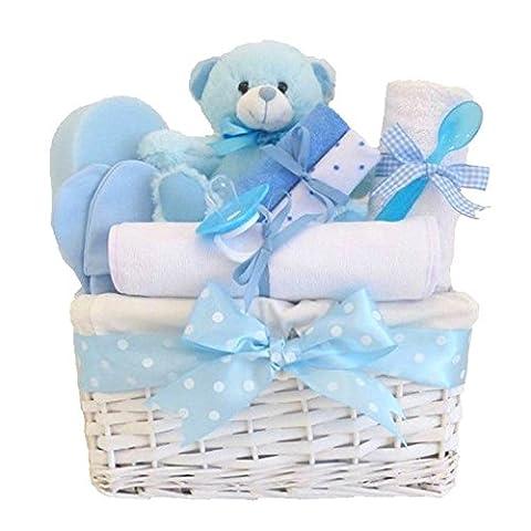 Angel White Wicker Baby Boy Gift / Blue Gift Basket