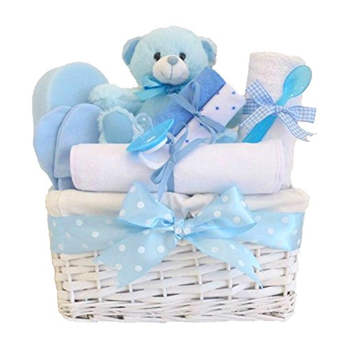 Angel White Wicker Blue Baby Gift Basket / Baby Boy Hamper / Baby Shower Gift / New Arrival / Baby Keepsake / FAST DISPATCH