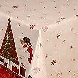 Wachstuch Tischdecke Gartentischdecke mit Fleecerücken Gartentischdecke, Pflegeleicht Schmutzabweisend Abwaschbar Weihnachten Zuckerstange Weiss 180x 140 cm - Größe wählbar