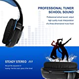 PC Gaming Headset, Mic 3.5mm Stereo Headset for PC and Phone, LED Light and Noise Cancelling Over Head Headset With Long USB Cable, Rotary Volume Controller, One Key Mic Mute, Black + Blue