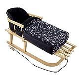 Rawstyle *KOMBIPAKET* HOLZSCHLITTEN mit Rückenlehne incl. Zugleine + WINTERFUSSSACK 90cm aus FLEECE (Flowers Schwarz) für Kinderwagen FLEECE - Lehne -Kinderschlitten