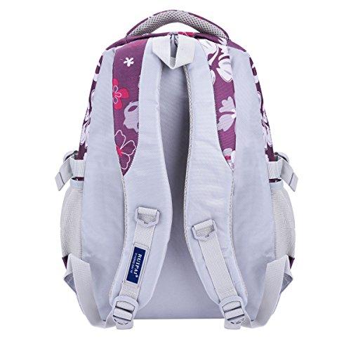 Schulrucksack, Coofit Schultasche Schulranzen Vintage Blumen Sportrucksack für Mädchen Jungen Jugendliche Lila