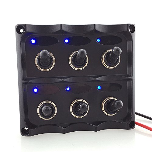 12-24v Eléctrico 6 Cuadrilla Llevó El Panel De Interruptor De Palanca Para...