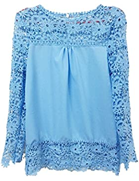 YipGrace Pizzo Splicing Maniche Lunghe Chiffona Shirt Da Donna