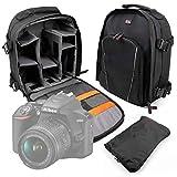 Duragadget Sac à Dos Noir résistant à l'eau pour Canon EOS 4000D, EOS 2000D, Nikon D3500 appareils Photo Reflex et Leurs Accessoires - Bretelles rembourrées