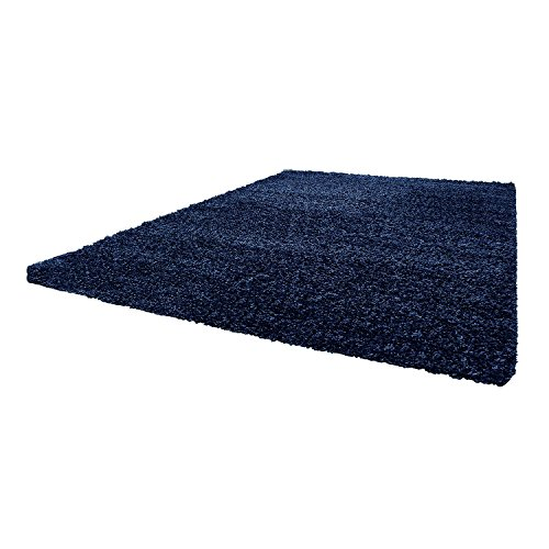 Shaggy Hochflor–Alfombra Feli Comfort decente 12tamaños y colores–Öko-Tex 100, azul marino, 160 x 230 cm