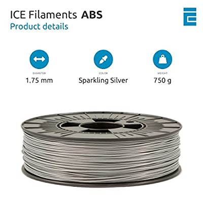 ICE FILAMENTS ICEFIL1ABS088 ABS Filament, 1,75 mm, 0,75 kg, Sparkling Silver