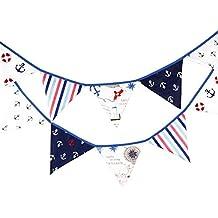 12 Flaggen 3,2 M Blau Stoff Banner Piraten Wimpelkette Decor Hochzeit  Weihnachten Geburtstag,
