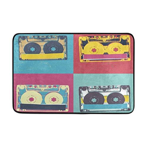 COOSUN Audio Cassette Retro del Arte Pop Música Felpudo Fondo, Entrada de Forma Cubierta Exterior Alfombra Puerta con Cubierta Antideslizante, (23,6 por 15,7 Pulgadas) 23.6x15.7 Pulgadas