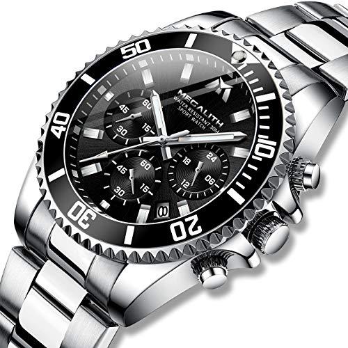 Herren Uhr Männer Chronographen Gold Edelstahl Wasserdicht Designer Armbanduhren Mann Militär Großes Leuchtende Analog Datum Business Uhren