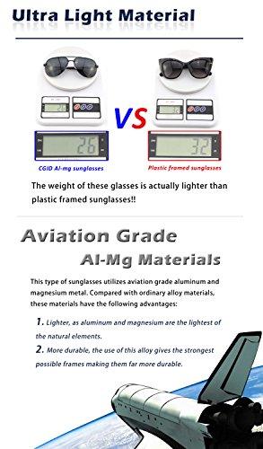 CGID GA43 Lunettes de soleil polarisées UV400 aviator sans monture en alliage Al-Mg premium, Lunettes de soleil réfléchissantes avec charnières à ressort pour hommes et femmes Marron Vert
