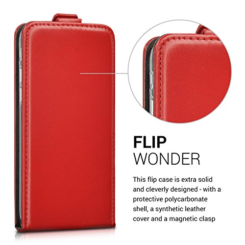 kwmobile Flip Style housse pour Apple iPhone 7 / 8 - Étui de protection rabattable en toile canvas et cuir synthétique en style flip case en gris noir .rouge foncé