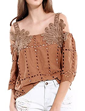 Laixing Womens Fashion Casual Retro Elegant Camisa Small Collar Strapless Tops Vestir