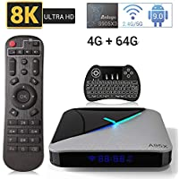 A95X F3 Air Android 9.0 TV BOX 4 GB RAM 64 GB ROM Smart TV BOX con Amlogic S905X3 Quad-Core CPU Cortex-A55 CPU Supporto 2.4GHz/5GHz WiFi USB3.0/3D/4k/Tastiera retroilluminata