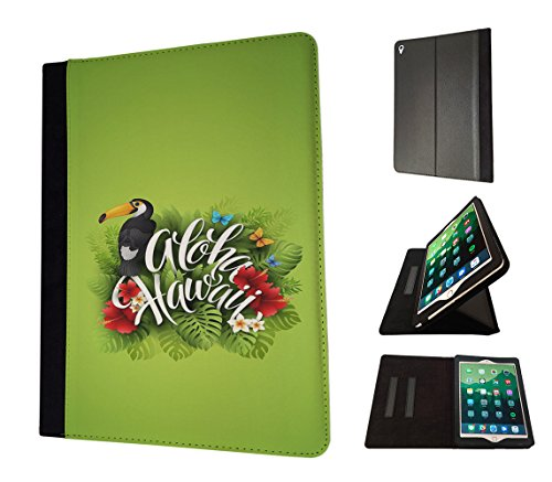 "Preisvergleich Produktbild 002664 - Aloha Hawaii Tropical Floral Roses flowers Toucan Bird Design Apple ipad Pro 12.9"" 2015 TPU Leder Brieftasche Hülle Flip Cover Book Wallet Stand halter Case"