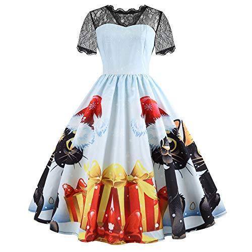 ALISIAM Damen Halloween Printed Spitze Kurzarm Halloween Retro Vintage Kleid Eine Linie Kürbis Schaukel Kleid Cocktailkleider Swing Dress (Machen Königin Der Herzen Kostüm)