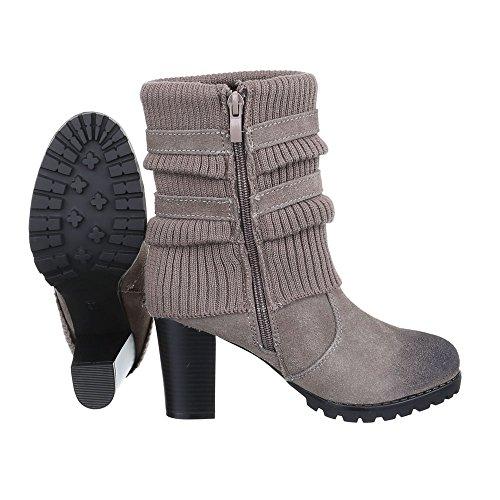 High Heel Stiefeletten Damen Leder Schuhe Schlupfstiefel Pump Leicht Gefütterte Reißverschluss Ital-Design Stiefeletten Grau