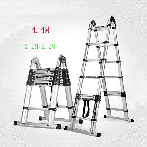 GTRR Multifunktion Verdicken Aluminiumlegierung Teleskopleiter Haushalt Klappleiter Heben Dachboden Aufsteigen Technische Leiter (Size : 2.2M+2.2M) - Dachboden Treppen Abdeckung