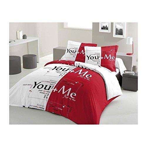 Preisvergleich Produktbild LOVELY HOME Parure de couette You and Me 100% coton - 1 housse de couette 220x240 cm + 2 taies d'oreillers 65x65 cm rouge et blanc