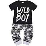 Baby Boys Clothes Set Short Sleeve Wild Boy T-Shirt Pants Outfit Winter Spring, Short Sleeve Black, 18-24 Months (Tag Size 100)