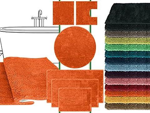 Mikrofaser Badteppich - klassisch + modern + universell einsetzbar - erhältlich in 13 modernen Farben und 6 verschiedenen Größen - die extra Streicheleinheit für Ihre Füße in geprüfter Markenqualität, terra, 50 x 45 cm mit (Ausschnitte Vorlage)