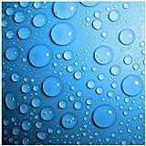 Wallario Möbeldesign - Glasbild, Motiv-Glasplatte, Schutzplatte, Abdeckplatte mit Motiv - geeignet für IKEA Lack Tisch, Größe: 55 x 55 cm, Motiv: Wassertropfen auf Blau