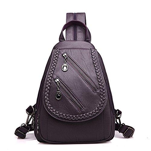 Mefly Femmina Zaino Borsa In Tessuto Nuova Moda Tutti-Match Svago Multifunzionale Street Black Violet