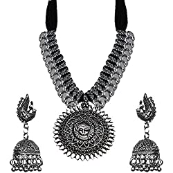 Kaizer Jewelry Antique German Silver Oxidised Plated Tribal Cotton Black Thread Jewelry Necklace Earring Set for Women & Girls.( Valentine Gift Special).
