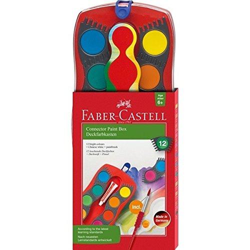 Faber-Castell 125023 - Farbkasten Connector mit 12 Farben, inklusive Pinsel mit Soft-Touch-Griffzone