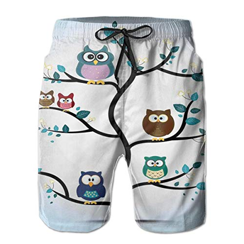 MIOMIOK Mens Beach Shorts Swim Trunks,Owl Family Perched On A Tree Love Grace Nocturnal Eyed Night Animals In The Nature Print,Summer Cool Quick Dry Board Shorts Bathing Suit XL - White Eyed Ducks