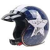 Pilot Scooter-Helm Helmet Motorrad-Helm Cruiser Roller-Helm Jet-Helm Mofa Biker Vintage Retro Chopper Bobber · ECE zertifiziert · mit Visier · (M,L.XL)