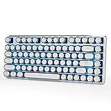 Verdrahtete Mechanische Spieltastatur Eisblau Hintergrundbeleuchtung Mit Cherry MX Rote Schalter Steampunk Retro Vintage Schreibmaschine Style Keycaps 82 Tasten von Qisan