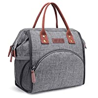 LOKASS Lunch Bag Insulated Lunch Box Wide-Open Lunch Tote Bag Large Drinks Holder Durable Nylon Thermal Snacks Organizer for Women Men Boys Girls Adults College Work Picnic Hiking Beach Fishing,Grey