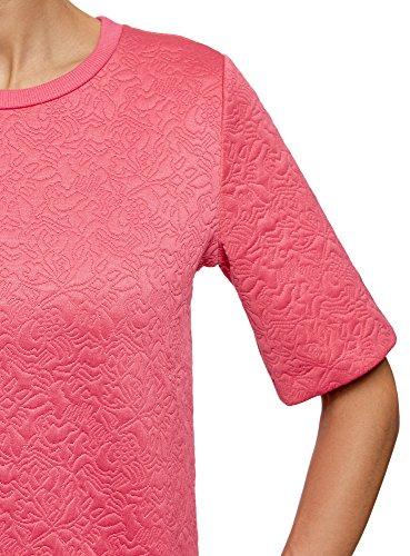 oodji Collection Femme Sweat-Shirt en Tissu Texturé à Manche Courte Rose (4D00N)
