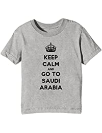 Keep Calm And Go To Saudi Arabia Niños Unisexo Niño Niña Camiseta Cuello Redondo Gris Manga Corta Todos Los Tamaños Kids Unisex Boys Girls T-shirt Grey All Sizes