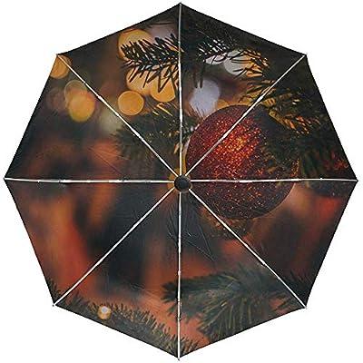Paraguas automático Árbol de Juguete de Navidad Viaje de Navidad Conveniente A Prueba de Viento Impermeable Plegable Automático Abrir Cerrar